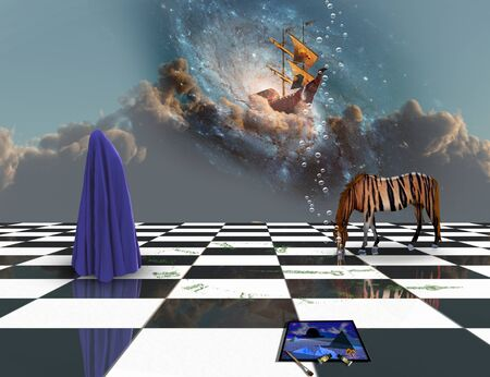 Surreal art. Imagination. Striped horse and figure covered by blue clothes on a chessboard. Ancient ship sails on the clouds