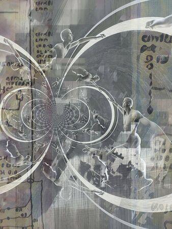 Abstract Fractal. Men in motion Standard-Bild - 127198194