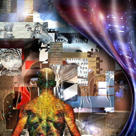 Complex surreal painting. Behind Curtain of space. Man with weird demons eyes on his skin. Pieces of puzzle. Chess figures