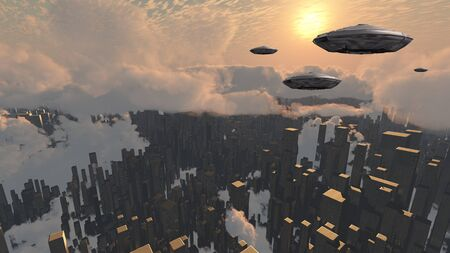 Flying saucers over futuristic megapolis. Sunset. Spacecrafts over city