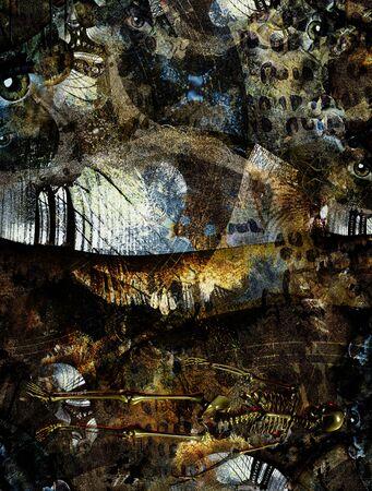 Grunge Dark Textured Manhattan Bridge Abstract. Clock face and eyes. Skeleton. 3D rendering
