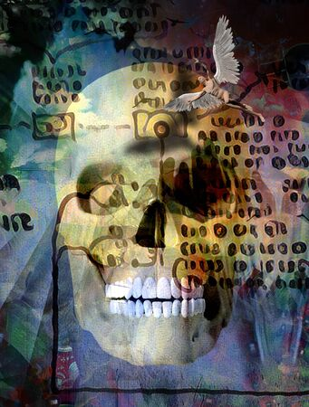 Surreal composition. Human skull and winged angel. Ancient script on the background Stock Photo