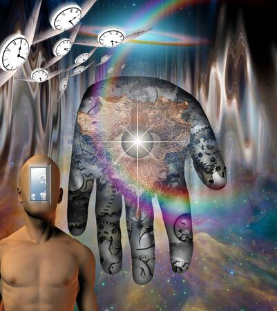 Surrealism. Man with burning head and open door to another world instead of his face. Human's palm with gears in colorful universe. Winged clocks - flow of time