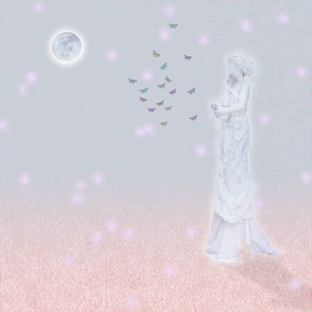 Woman`s marble statue and butterflies. Glowing moon. Standard-Bild - 127757621