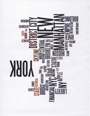 Words Cloud. New York, Manhattan