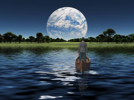 Man in a boat floats toward green horizon. Planet rise over horizon