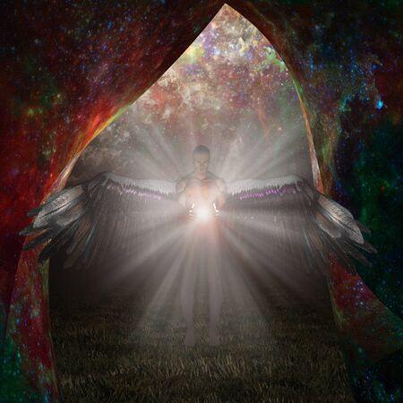 Angel being holds light. Veil of stars