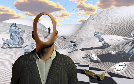 Surreal desert with chess figures and trumpet. Faceless man in suit. Winged clocks symbolize flow of time Imagens