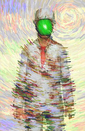 Surreal digital art. Man in white corroded suit with green apple instead of face. Rene Magritte inspired 版權商用圖片