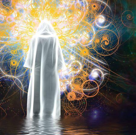 Figure in bright white cloak stands on water Banco de Imagens