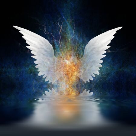 Surrealism. White angels wings over water ripples Stock Photo