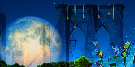 Surreal digital art. Brooklyn bridge on New Yorks cityscape. Giant moon, pieces of graffiti and paint drops 写真素材