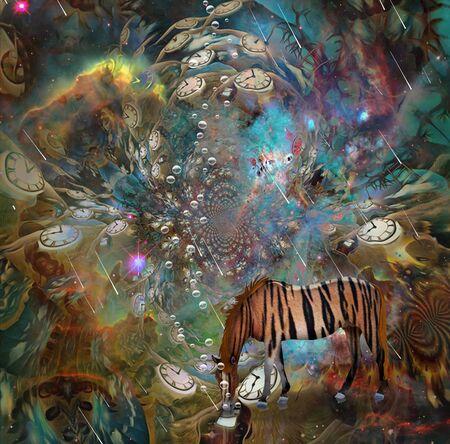 Surreal art. Vivid Imagination. Striped horse and winged clocks