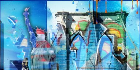Modernism. Liberty statue in national colors with graffiti