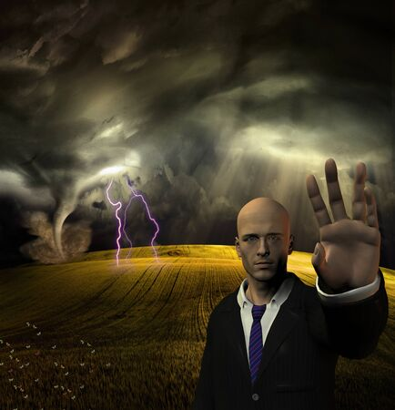 Storm at the field. Man trying to stop you