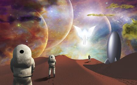 Astronauts on alien planet and their rocket ship  greeted by angelic glowing winged figure