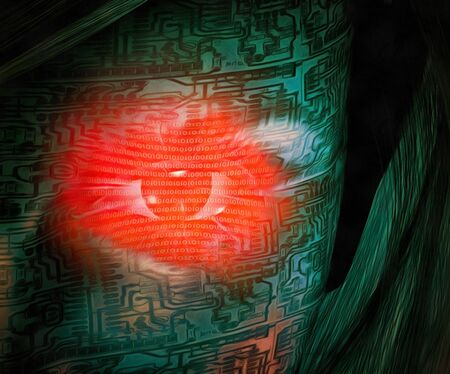 Surrealism. Red digital eye of droid woman Stock Photo
