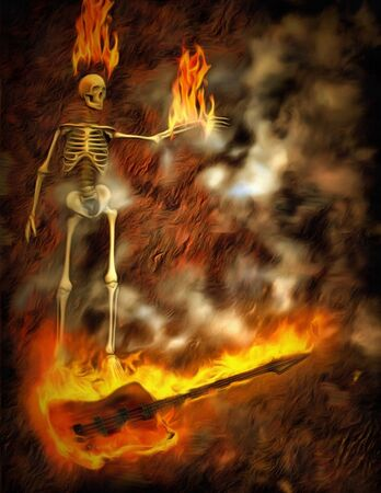 Surreal painting. Burning skeleton and bass