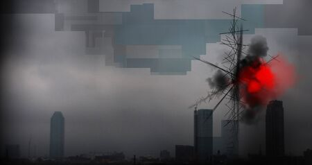 Modern art. Mystical smog over the city