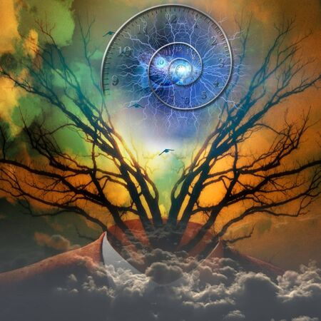 Surreal artisitc image with time spiral Stock Photo