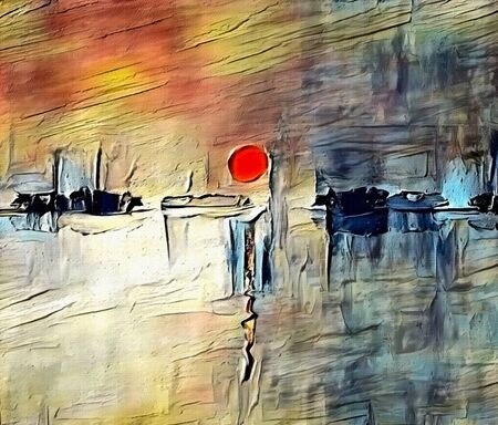 Modern abstract painting in sumi-e style. Red sunset. Artwork for creative graphic design