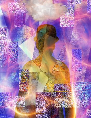 Shadow of a man in bowler and suit. Vivid abstract background