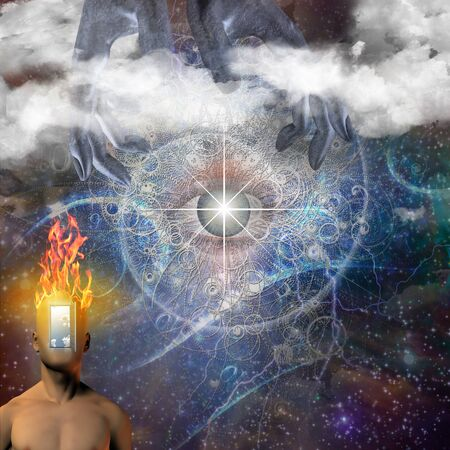 Eye in a center of the universe. Mans torso with opened door instead of his face. Hands of creator in the sky