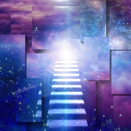 Steps up into cosmos. Sci fi Art Stock fotó