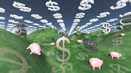 Fantasy landscape with pigs and dollar signs Imagens