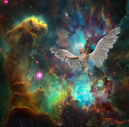 Angel flies in vivid space. Colorful nebula and stars Stock fotó