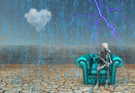 Thinker. Alien`s skeleton sits on a armchair in pose of thinker. Rain fals down on arid land Banco de Imagens