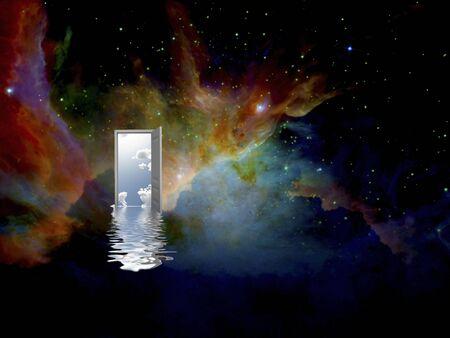 Porta aperta con riflessi di increspature del cielo e dell'acqua nello spazio profondo