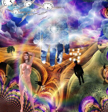 Scene of fantasy. Woman in surreal landscape Banque d'images - 128524608