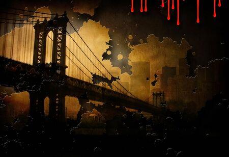 Brooklyn Bridge NYC. Dark art painting