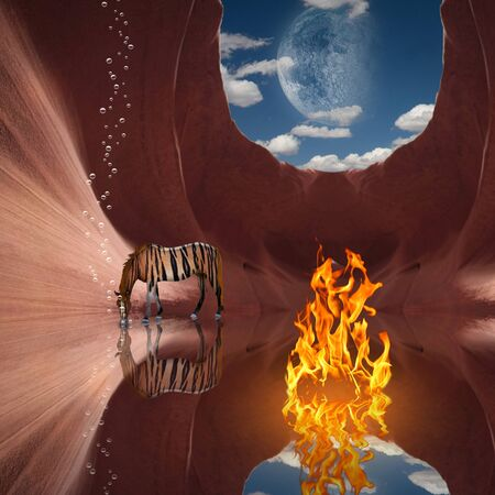 Surrealism. Red rock cave with fire and striped horse. Moon in the sky. 3D rendering
