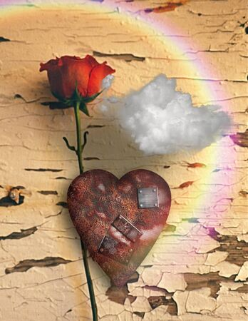 Surrealism. Red rose and rusted heart with metal patches. Cloud and rainbow