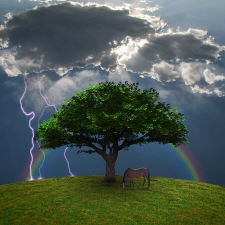 Horse near the tree. Lightning in cloudy sky. 3D rendering