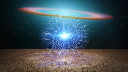 Life capsule. Splash of lightnings. Galaxy disk on a background