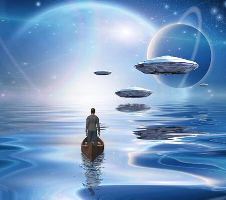 Exosolare Planeten erheben sich über stillen Gewässern. Raumschiffe schweben über einem fremden Ozean. Mann im Holzboot