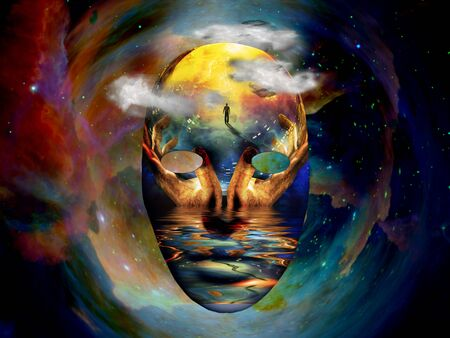 Mask with the image of man, hands of a prayer and seashore. Colorful universe on background Banco de Imagens