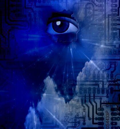 Human eye behind the electric circuit board