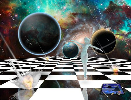 Surreal composition. Armageddon. Asteroids destroy planets. Womans statue from white pure marble. Chessboard in the Universe. Easel brushes and paints. 3D rendering Stock Photo
