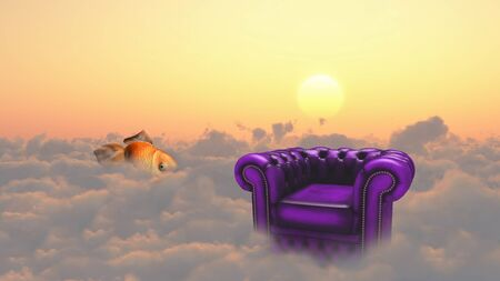 Armchair and golden fish on a clouds