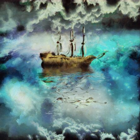 Surreal painting. Ancient ship in the sky ocean
