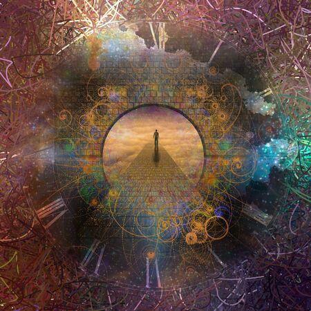 L'uomo viaggia attraverso la porta del tempo