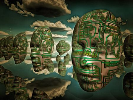 Surreal painting. Masks with electronic circuit pattern hovers in the sky