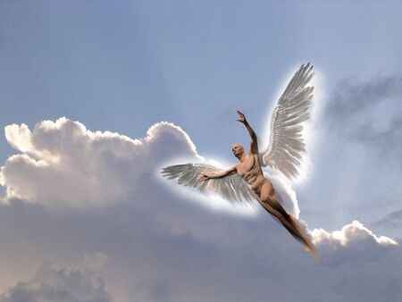 Surrealism .Man with white wings flies in the cloudy sky. Icarus