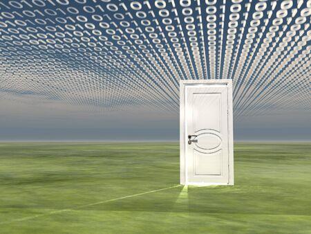 White door on a green terrain. Binary code in the sky