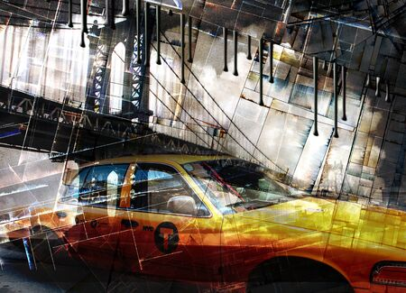 Urban digital art. Manhattan Bridge and Cab Stock Photo