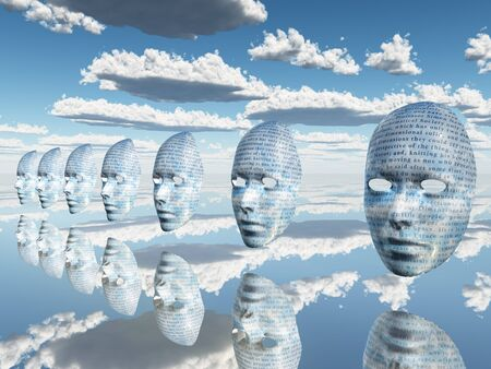 Surreal faces with text are floating in the sky Stockfoto